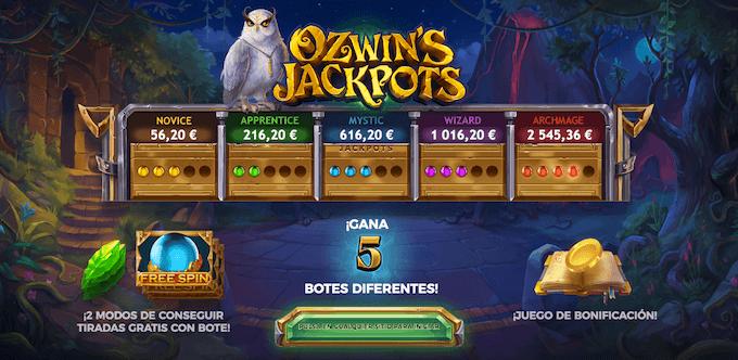 características ozwin's jackpot