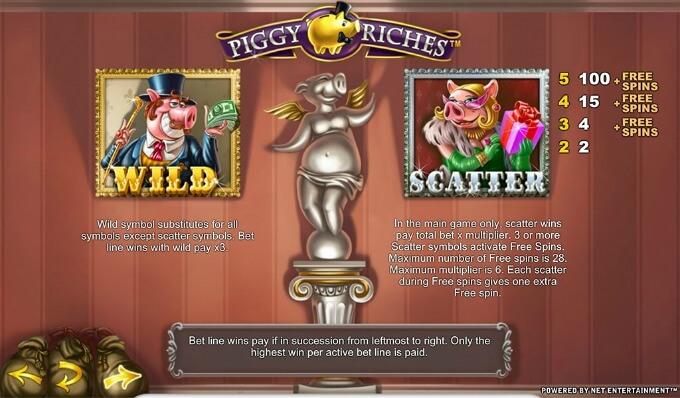 símbolos de la tragamonedas piggy riche