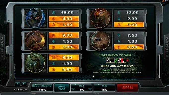 jugar al slot jurassic park online