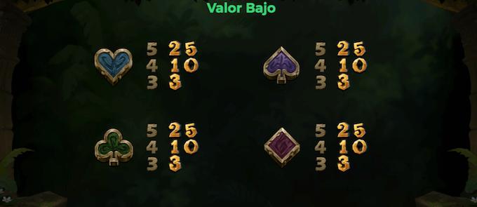 tragamonedas libro de la selva símbolos valor bajo